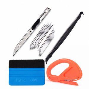 EHDIS voiture Accessoires vinyle Film Car Wrap Kit de nettoyage Outils feutre Raclette Magnet Scraper neige Cutter Lame de couteau IYkV #