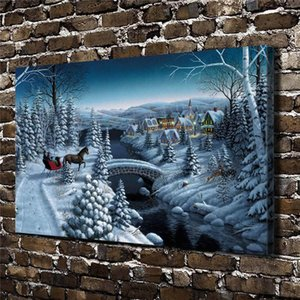 Scenery Christmas town,HD Canvas Printing New Home Decoration Art Painting (Unframed Framed)