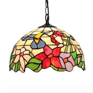 Tiffany Stained Glass Pendant Lamp Multicolof Flower And Butterfly Hanging Light Fixture Handcraft Arts Home Decor