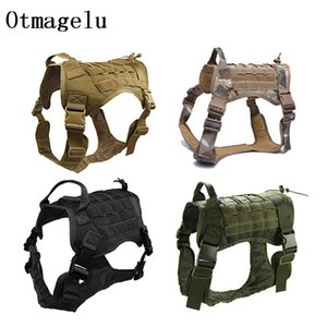 Nylon Pet Dog Vest Harness Sets Outdoor Tactical Training Dog Clothes For Medium Big Hunting Dog Pitbull Bull Terrier Rottweiler T200710