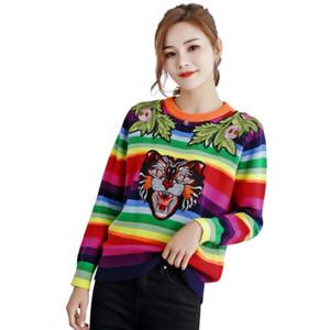 Qooth rayado del color suéteres tapas de las mujeres del tigre 2020 Moda de Calle Jerseys y suéter Femme pull raya Jumper QH1884