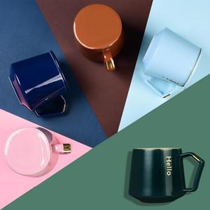 Ceramic Mug 370ml creativo INS Nordic tazza di caffè coppia di tè Acqua tazze di caffè con caffè Cucchiaio DHF211