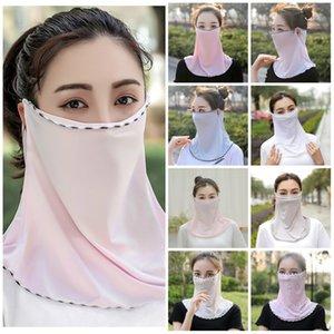 Las mujeres velo de la bufanda de seda de hielo Cara máscara facial máscara a prueba de arena montar el collar del oído de toallas y diseñador máscara máscaras de las mujeres T2I51228