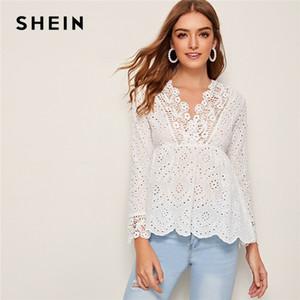 Shein Beyaz V Yaka Katı Kuşgözü Nakış Peplum Bluz Kadınlar 2020 Sonbahar Tatil Uzun Kollu fırfır Hem Boho Bluz Tops