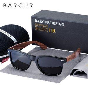 BARCUR Natural Walnut madeira óculos polarizados óculos Madeira Retângulo Espelho Lens Driving UV400 Homens Mulheres Eyewear
