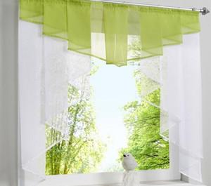 Fliegen Tüll Küche Vorhang für Fenster, Balkon, Rom Plissee-Design Stitching Farben Voile Transparenter Drape Weiß Yarn Gardinen Kurz