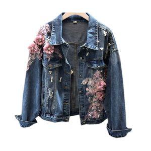 Fashion Beading Embroidered Jeans Jacket Coat Women New Stereo Pink Flower Denim Jacket Autumn Lady's Hole Basic Coat Outerwear