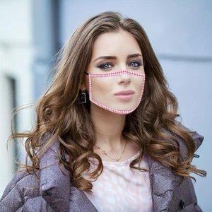 Designer Deaf Mute Masken PET Lippen Anti-Fog-transparente Maske Baumwolle mit Blumenmuster Maske Streifen sichtbar Mund Gesicht mit klarem Fenster BWF603