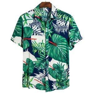 Nuevo verano outddoor hawaiano de brócoli serie floral camisa de hombres y mujeres camisas de manga corta de la solapa de la camiseta CS126