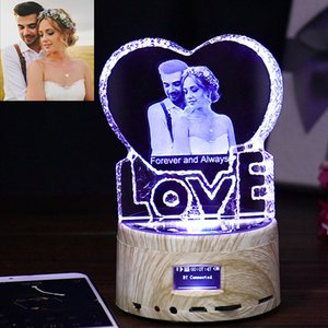 Custom K9 Love Crystal Color Photo Frame LED Night Light MP3 Bluetooth Music Box Rotary Jewelry Show Turntable Souvenir Gift