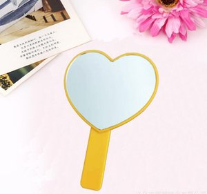 DHL Heart Shaped Travel Handheld Mirror, Cosmetic Hand Mirror with Handle Makeup Mirrors Cute love shape Cosmetic Tool nx