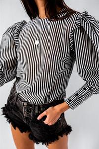 Ins caliente del estilo para mujer t camisas del diseñador de rayas de manga farol Top Fashion Color Natural Camisetas de la ropa de las mujeres