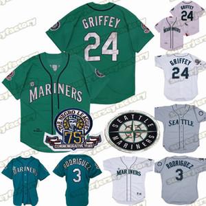 24 Ken Griffey Jr. 1995 75 ° 3 Alex Rodriguez baseball cucito bianco verde di alta qualità Disponibile Maglie
