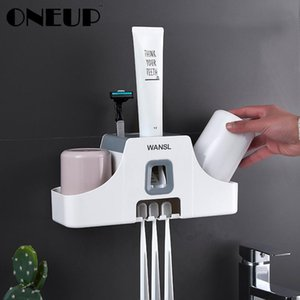 ONEUP Toothbrush Holder Wall Mounted Toothpaste Squeezer Mouth Bathroom Accessories Sets Punch Free Storage Rack with Cup T200507