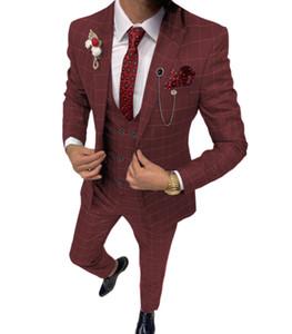 Latest Coat Pant Designs Men Suits 3 Pieces Peaked Lapel Plaid Wedding Tuxedos Blazer Slim Fit Summer Men Business Dinner Prom Suits