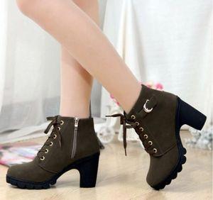 Plus Size 35-42 Hiver Femmes Casual Escarpins Bottes chaudes cheville imperméables neige Hauts talons Martin Chaussures Botas Botas Patent