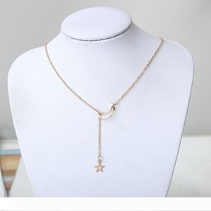 Classic Star Moon Charms Necklace Pendant Brief Silver Color Chain Choker Necklace for Women Party Collar Jewelry