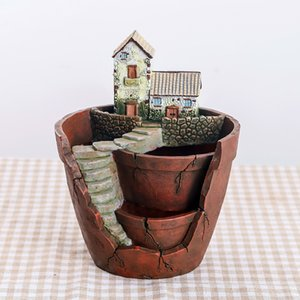 1pcs Pastoral bonsai planter pot Fashion cartoon house flower pots resin large garden flowerpot garden plant decoration Y200709