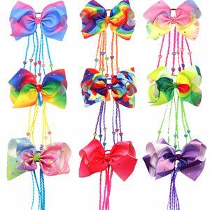 Children's bowknot rainbow stripe ring wig twist braid Wig hair rope butterfly hair rope