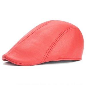 Deri erkek tepeli Sivri kap bere ileri kap orta yaşlı şapka kadın şapka beret