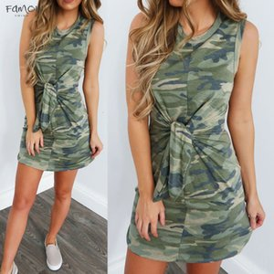 2020 New Tie Knot Casual Dresses Waist Camouflage Dress Holiday Summer Tied Up Camouflage Print Sleeveless Party Mini Dress Elbise C