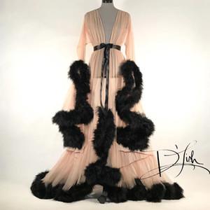 2020 Neue Womens Robe Nachthemd Bademantel Nachtwäsche Bridal Robe Perspektive Sexy Lave Fleather Intellight Hülse Schwanz Kleid