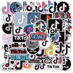 Lot de gros TikTok 50pcs Tik Tok Autocollants populaires Tendance Stickers Laptop Skateboard autocollant bouteille moteur pour ordinateur portable voiture Autocollants Bagages