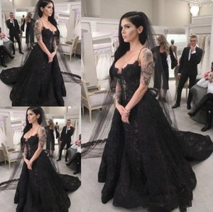 2020 new Black Tulle Long Sleeve Ball Gown wedding dresses beads african lace country style wedding gown gothic wedding dress bridal gown