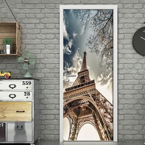 Door sticker3D Paris Tower Door Sticker Creative DIY Home Decor Decals Self-adhesive Wallpaper Waterproof Door Mural Bedroom Doo