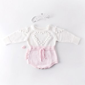 Baby Knitted Clothes Heart Baby Girl Romper Pompom Infant Girls Sweater Designer Newborn Jumpsuit Autumn Winter Baby Clothing DW4652
