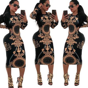 20s Designer Dresses Stretch Sexy Stylish Party Dress Womens Floral Print Skinny Club Wear Gorgeous Vestidos Maxi Bandage Bodycon Dress