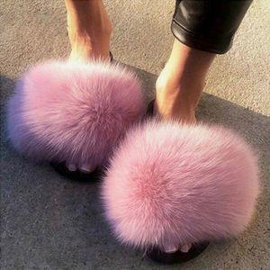 2020 femmes Furry Chaussons Chaussures pour femmes mignon en peluche cheveux bouffants Sandales femme fourrure Pantoufles hiver chaud de femmes chaud