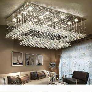 Modern Contemporary Remote LED Crystal Chandeliers with LED Lights for Living Room Rectangular Flush Mount Ceiling Lighting Fixture