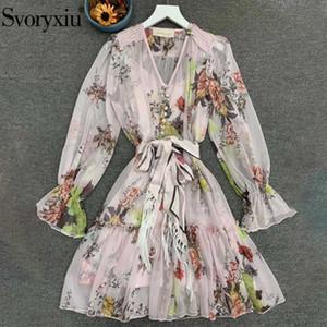 Svoryxiu Runway Designer-Herbst-Frauen-Mehrfarbenblumendruck Bohemian Ferienminikleider Damen-Bogen-Gurt mit V-Ausschnitt-Kleid