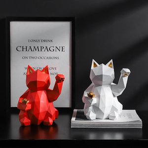 Lucky Cat Statue Nordic Geometric Animal Statues for Home Decoration TV Home Living Room Figurine Creative Wine Cooler Sculpture T200703