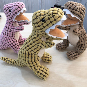 Chew Toys Plush Dog Pet Cat Toy Dinosaur Style accompany Train Tool Green Pink Coffee Color 20 Pcs