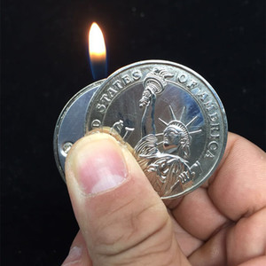 Creative Compact Butane Lighter Gas Lighter Inflated Gas Jet Pendant Coin Bar One Dollar Metal Gift Keychain Key Chain Gift for Man