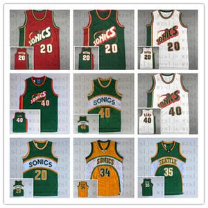 Erkekler Rahat Yüksek Kalite Ucuz Payton 20 Kemp 40 Durant 35 Allen 34 Basketbol Jersey Açık ve Nefes Spor Jersey