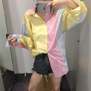 [EWQ] 2020 New Spring Corea del manicotto Formato più lunga delle donne supera le camicette a righe senza spalline in brossura signore d'avanguardia Camicia caual Blusas