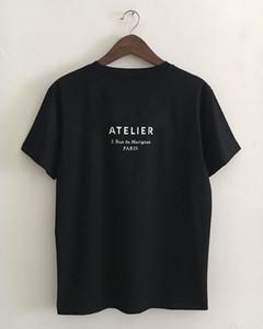 Новый дизайнер мужской бренд футболки O воротник женщин короткий рукав Париж Италия бренд ATELIER 3 Рю де Marignan печать высокого качества 100% хлопок