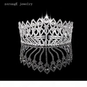 F Zeronge Jewelry Vintage Style Pageant Beauty Contest Peacock Crown Full Circle Round Tall Tiara Crystal Girl &#039 ;S Tiara And Crown