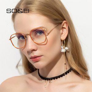 SO&EI Retro Square Woman Sunglasses Ins Popular Fashion Anti-Blu-ray Men Metal Eyeglasses Frame Clear Optical Lens Eyewear UV400