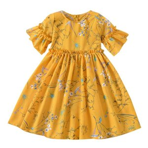 Kid Girl Floral Dress Polyester Fiber Temperament Leisure Daily Lovely Short Sleeve O-neck Sweet Princess Party Dresses