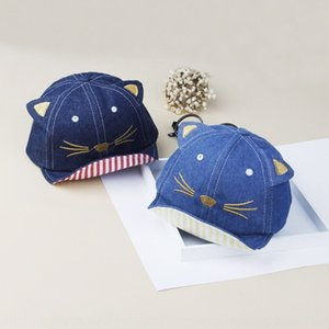 Autumn Children's denim soft eaves embroidered cute kitty cornice cap cornice cap baby hat 1-2 years old hat