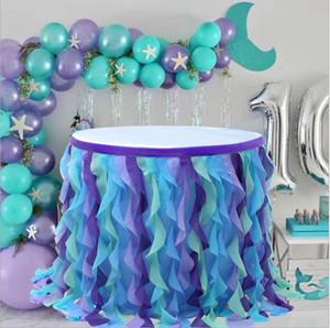 Mermaid Curly Willow Tabella gonna in tulle Ruffle Table Skirt per Rettangolo / rotonda Tutu Table Skirt per Baby Shower Matrimonio festa di compleanno DHD19