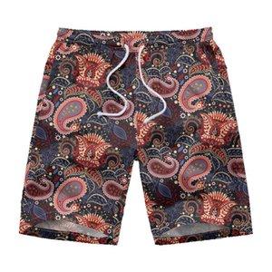 Verano de los hombres pantalones elásticos cuerda Stretch Shorts Casual Male Hawaiian Beach Deporte Joggers pintada Impreso Pantalones Pantalón Corto