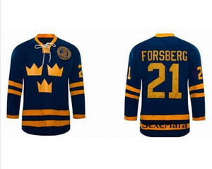 Custom Men Youth women Vintage Hot #21 Peter Forsberg Jersey Team SWEDEN Hockey Jersey Size S-5XL or custom any name or number