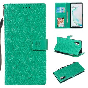 For Galaxy Note10+   Note10+ 5G Pressed Printing Rattan Flower Pattern Horizontal Flip PU Leather Case, with Holder & Card Slots & Wallet &