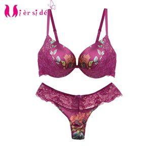 Mierside JW34PU Sexy Fashion Bra Set Padded Push up Bra Bralette Floral with Sexy panty 34 36 38 40 B C Y200708