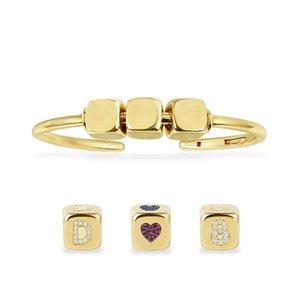 CUSTOMIZE BANGLE Custom Fashion Unique Yellow Gold Color Zircon Initial Letter Numeral Symbol Dice Open Cuff Bracelet for Women